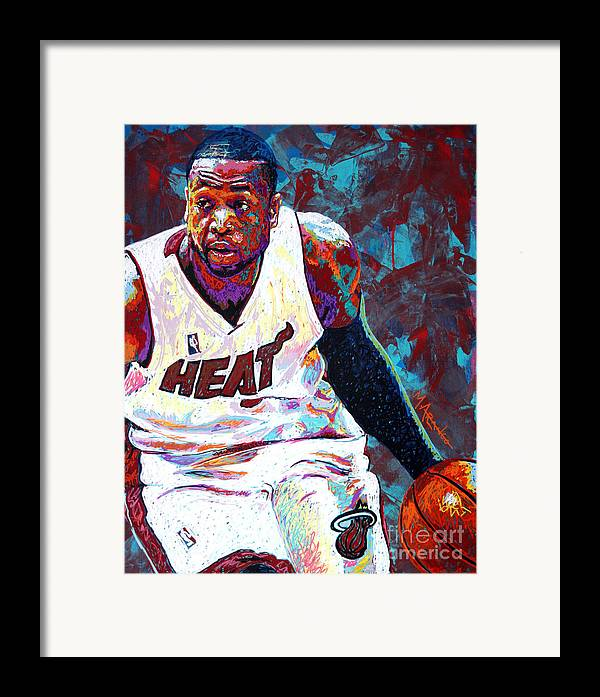 Dwyane Wade Framed Print featuring the painting D. Wade by Maria Arango