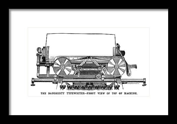 1895 Framed Print featuring the painting Daugherty Typewriter, 1895 by Granger