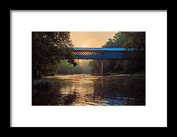 Swann Bridge Framed Print featuring the photograph Dawn At Swann Bridge by Phillip Burrow