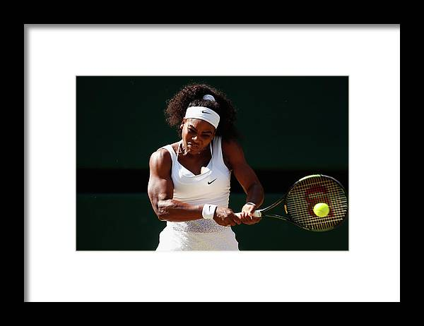 Serena Williams - Tennis Player Framed Print featuring the photograph Day Ten The Championships - Wimbledon by Julian Finney