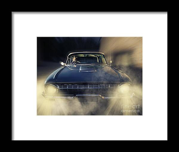 Detective Man Driving Old Classic Car At Pace Framed Print by Jorgo ...