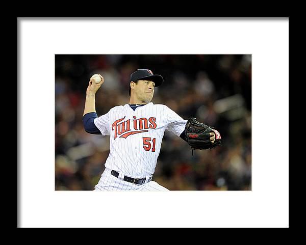 American League Baseball Framed Print featuring the photograph Detroit Tigers V Minnesota Twins 1 by Hannah Foslien