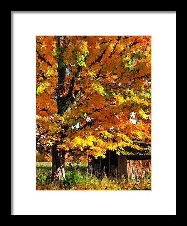 Door County Framed Print featuring the painting Door County Yellow Maple Migrant Shack by Christopher Arndt
