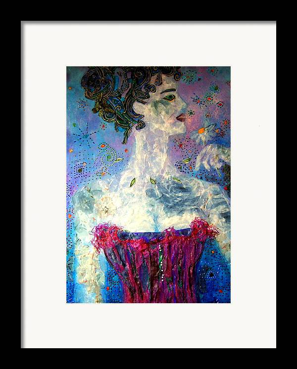 Mixed Media Collage Framed Print featuring the mixed media Dreaming by Diane Fine