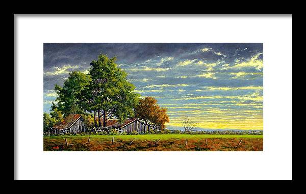 Landscape Framed Print featuring the painting Dusk by Jim Gola