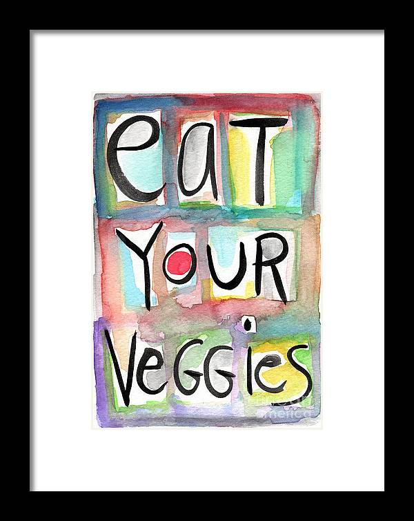 Veggies Framed Print featuring the painting Eat Your Veggies by Linda Woods