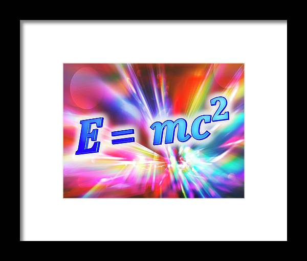 Equation Framed Print featuring the photograph Einstein's Mass-energy Equation by Alfred Pasieka