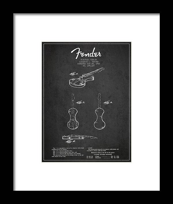 Violin Framed Print featuring the digital art Electric Violin Patent Drawing From 1960 by Aged Pixel