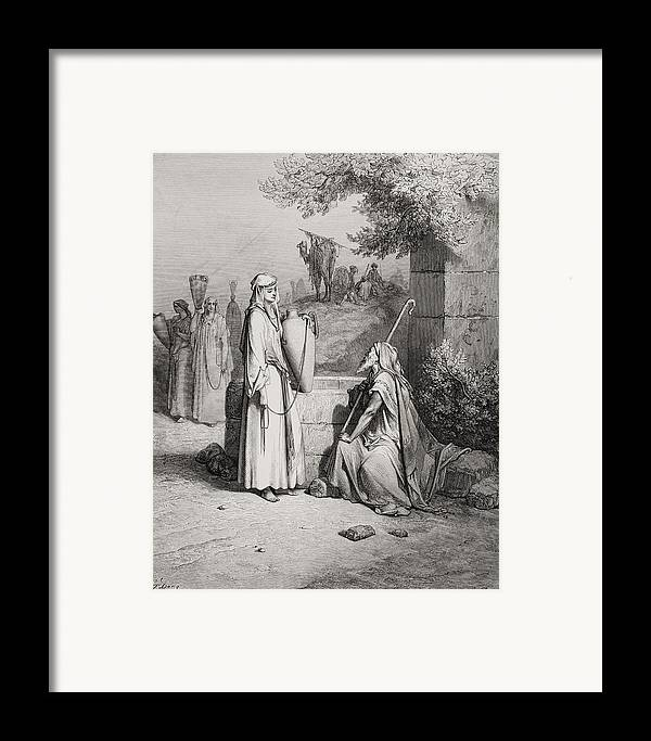 Male Framed Print featuring the painting Eliezer And Rebekah by Gustave Dore