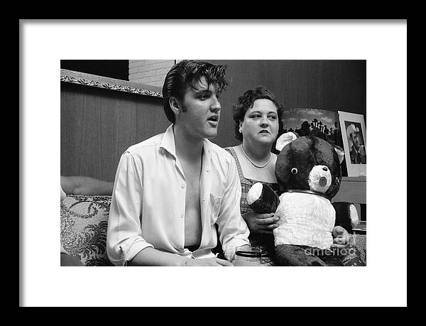 Elvis Presley Framed Print featuring the photograph Elvis Presley and his mother Gladys 1956 by The Harrington Collection
