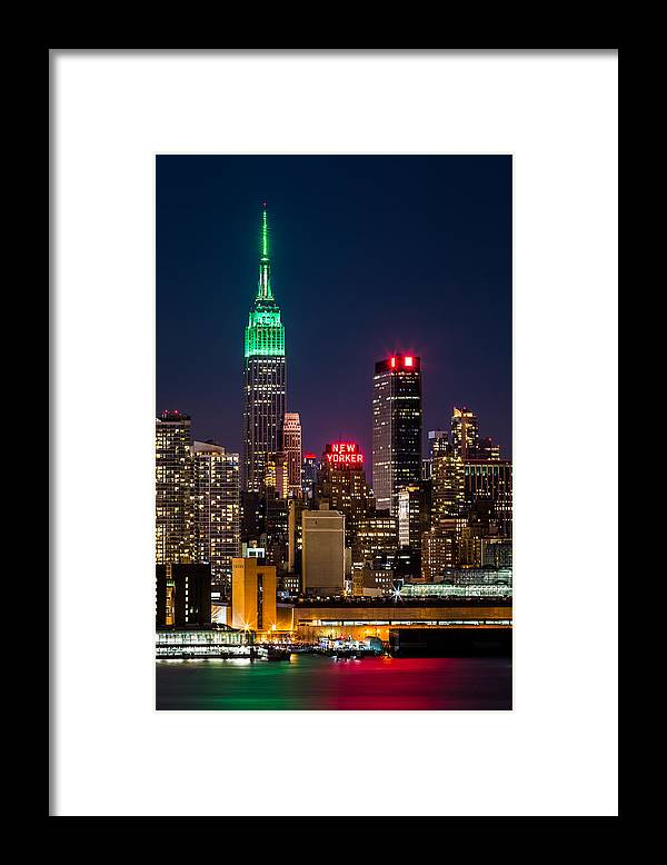 Ireland Framed Print featuring the photograph Empire State Building on Saint Patrick's Day by Mihai Andritoiu