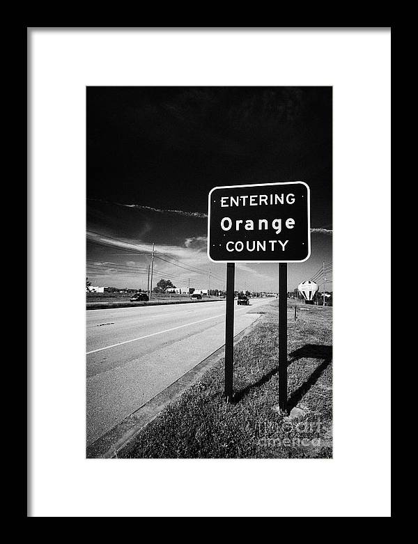 Entering Framed Print featuring the photograph Entering Orange County On The Us 192 Highway Near Orlando Florida Usa by Joe Fox