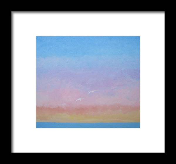 Abstract Framed Print featuring the painting Evening Sky by Sharon Guy
