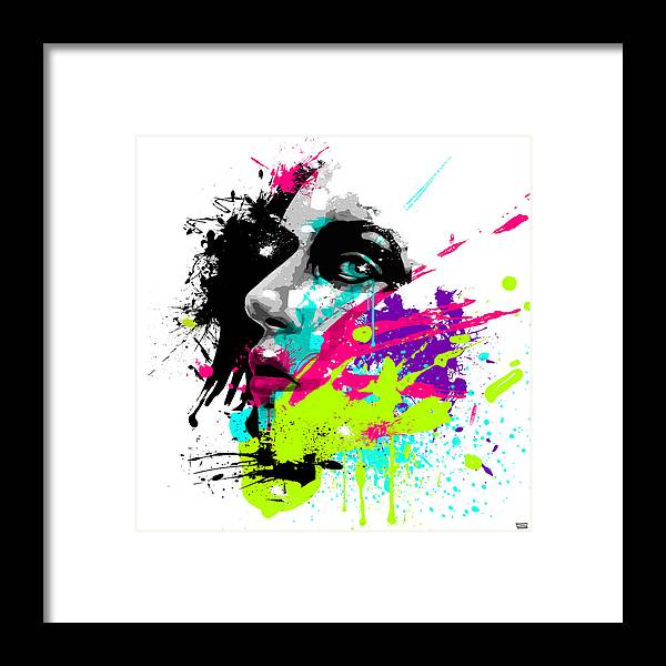 Female Framed Print featuring the painting Face Paint 2 by Jeremy Scott