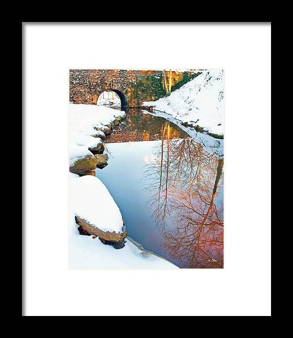 Falls Park Framed Print featuring the photograph Falls Park In Snow by Nian Chen