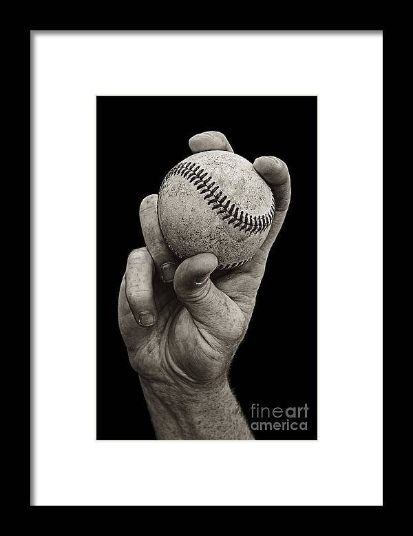 Baseball Framed Print featuring the photograph Fastball by Diane Diederich