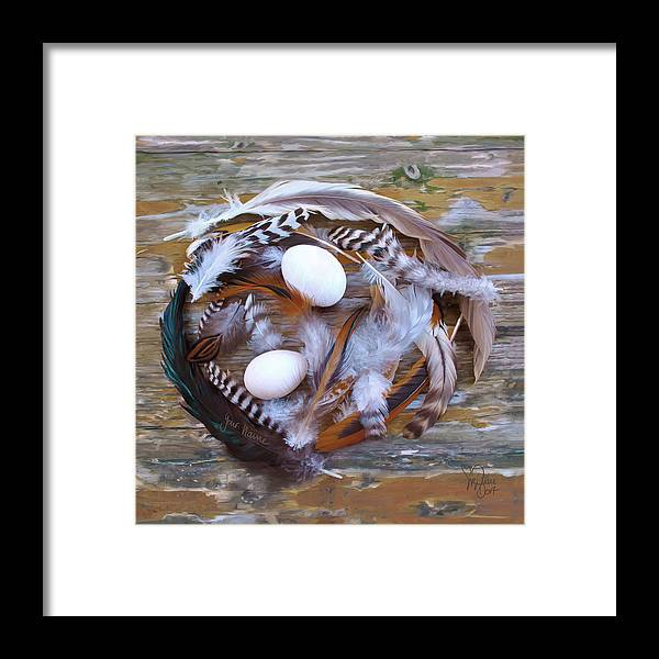 Poultry Framed Print featuring the digital art 1. Feather wreath EXAMPLE by Sigrid Van Dort