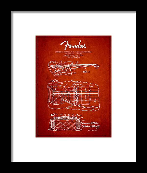 Fender Framed Print featuring the digital art Fender Floating Tremolo Patent Drawing From 1961 - Red by Aged Pixel