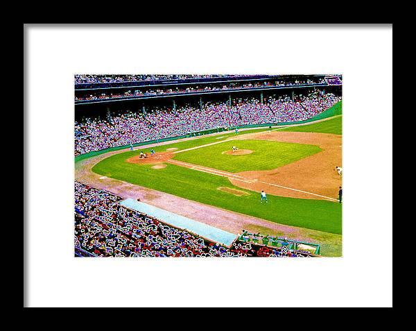 Red Sox Framed Print featuring the digital art Fenway Frenzy by David Schneider