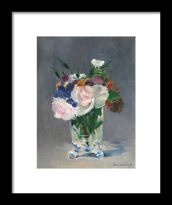 1882 Framed Print featuring the painting Flowers In A Crystal Vase by Edouard Manet
