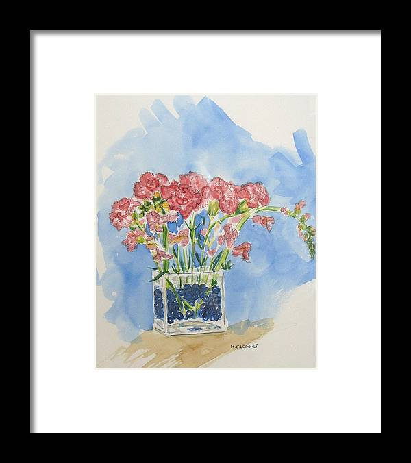 Flowers Framed Print featuring the painting Flowers In A Vase by Mary Ellen Mueller Legault