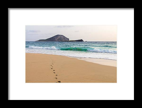 Alone Framed Print featuring the photograph Footprints To The Ocean by Leigh Anne Meeks