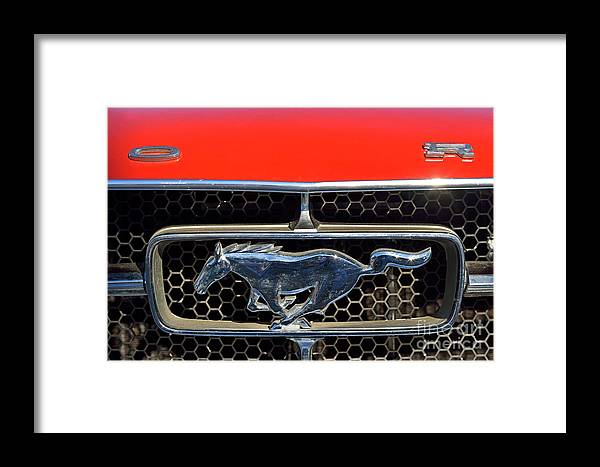 Ford Framed Print featuring the photograph Ford Mustang Badge by George Atsametakis