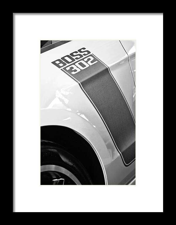 Ford Mustang Boss 302 Emblem Framed Print featuring the photograph Ford Mustang Boss 302 Emblem by Jill Reger