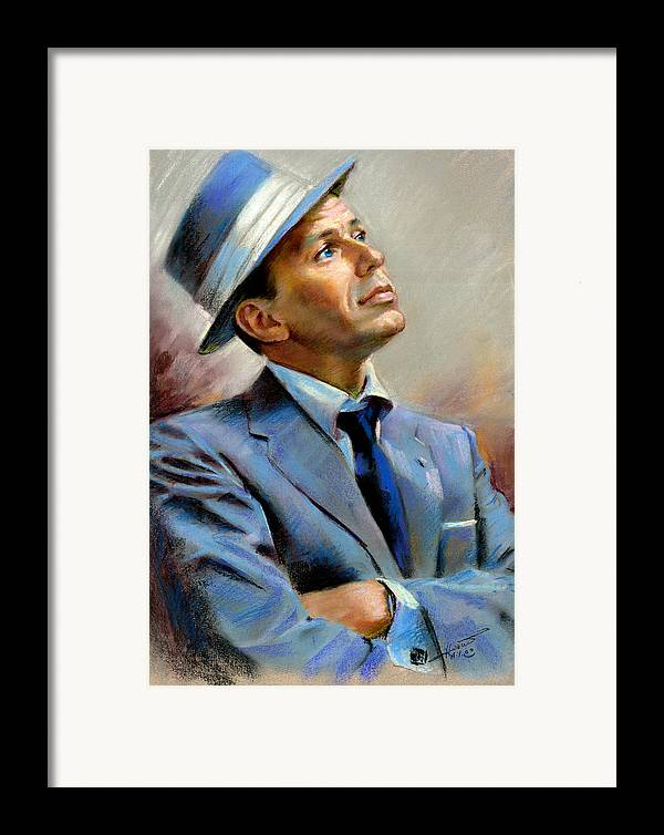 Francis frank Sinatra Framed Print featuring the pastel Frank Sinatra by Ylli Haruni