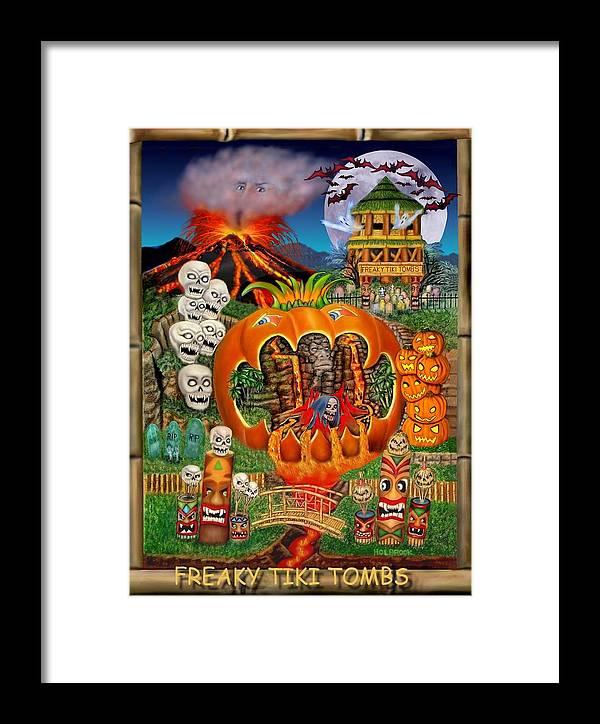 Halloween Art Framed Print featuring the digital art Freaky Tiki Tombs by Glenn Holbrook