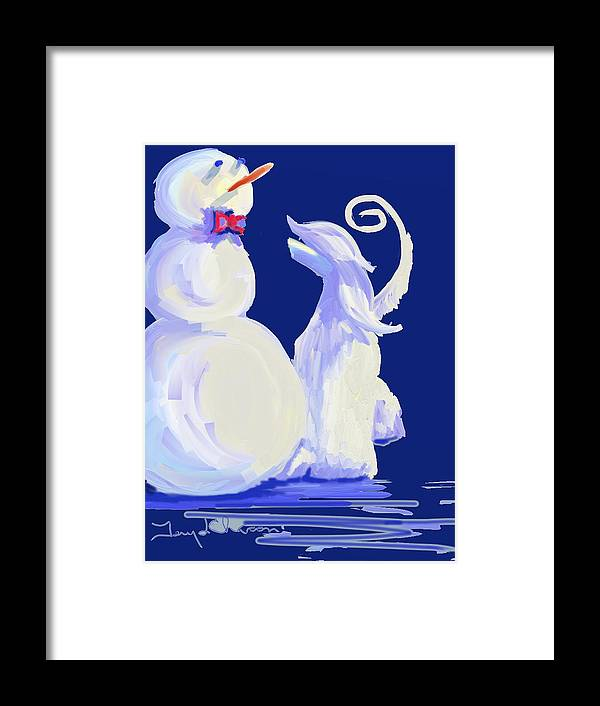 Ipad Finger Paintings Framed Print featuring the painting Frosty Blue by Terry Chacon
