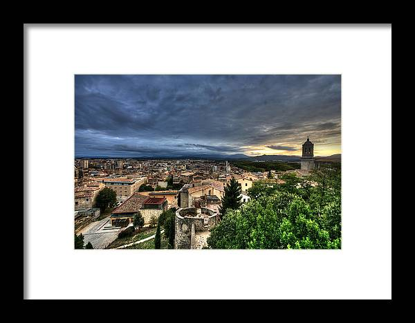 Cathedral Of Saint Mary Girona Framed Print featuring the photograph Girona Cityscape by Isaac Silman