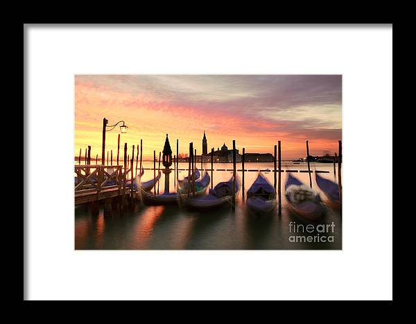 Church Framed Print featuring the photograph Gondolas At Sunrise Venice Italy by Matteo Colombo