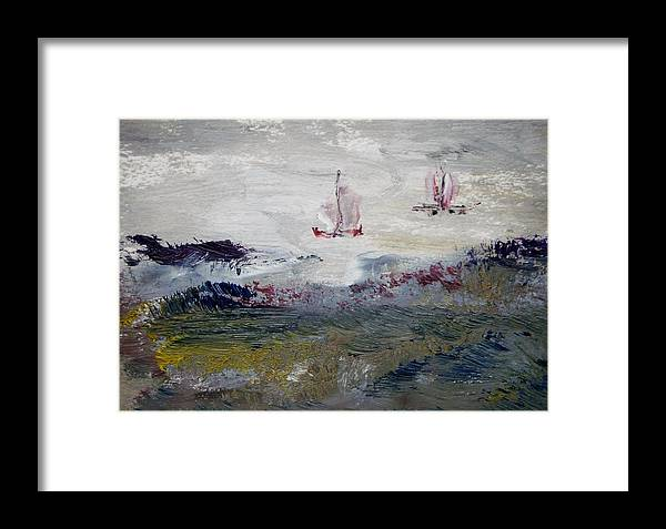 Sail Framed Print featuring the painting Gray Skies by Edward Wolverton