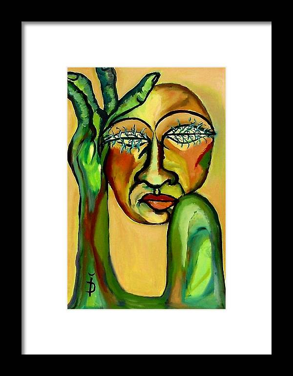 Expressionism Framed Print featuring the painting Green Eyes by Daniela Isache