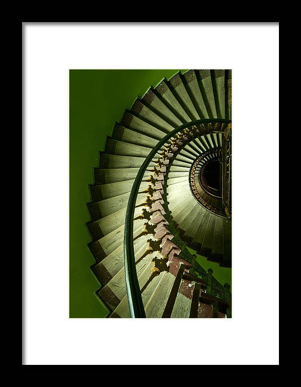 Architecture Spiral Framed Print featuring the photograph Green Spiral Staircase by Jaroslaw Blaminsky