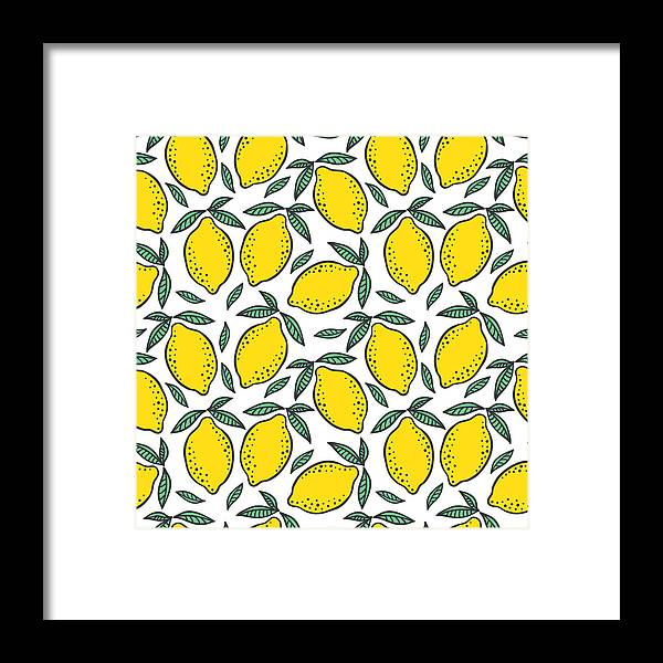 Art Framed Print featuring the digital art Hand Drawn Colorful Seamless Pattern Of by Ekaterina Bedoeva