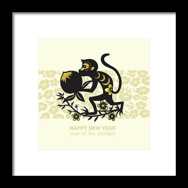 Chinese Culture Framed Print featuring the digital art Happy New Year, Year Of The Monkey 2016 by Ly86