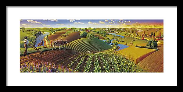 Farming Panorama Framed Print featuring the painting Harvest Panorama by Robin Moline