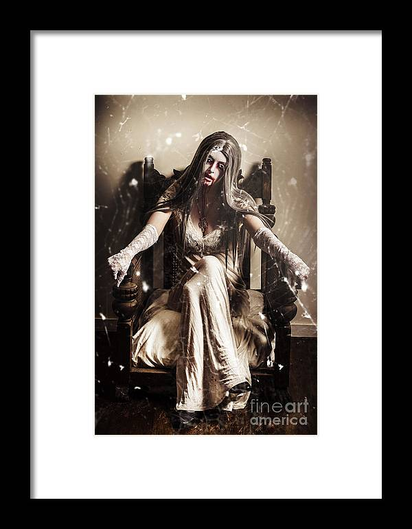 Evil Framed Print featuring the photograph Haunting Horror Scene With A Strange Vampire Girl by Jorgo Photography - Wall Art Gallery