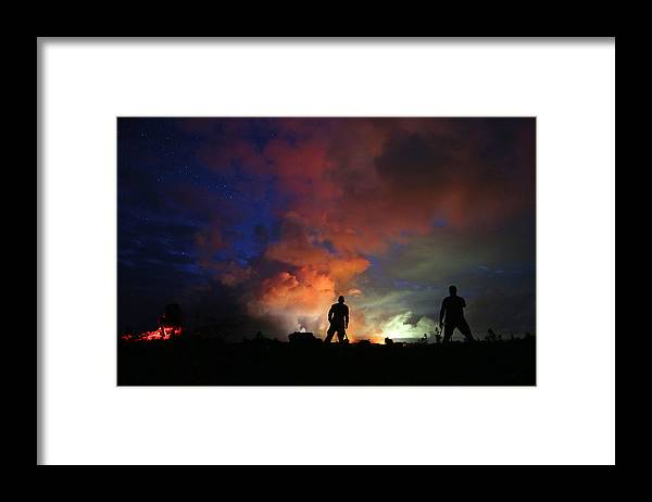 Working Framed Print featuring the photograph Hawaiis Kilauea Volcano Erupts Forcing by Mario Tama