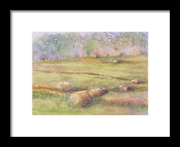 Hay Framed Print featuring the painting Hay Feilds by Mary Levingston
