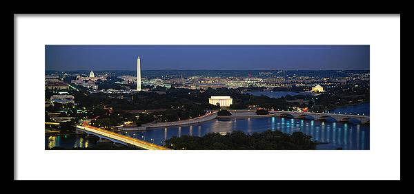 Photography Framed Print featuring the photograph High Angle View Of A City, Washington 1 by Panoramic Images