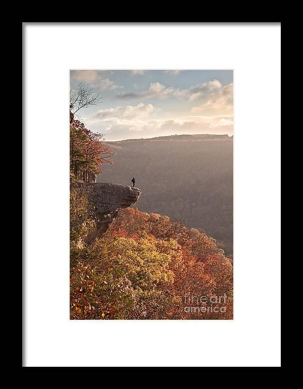 Hawksbill Crag Framed Print featuring the photograph Hiker On Hawksbill Crag In Arkansas by Brandon Alms