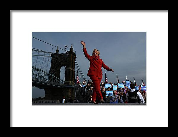 Nominee Framed Print featuring the photograph Hillary Clinton Campaigns In Ohio Ahead by Justin Sullivan