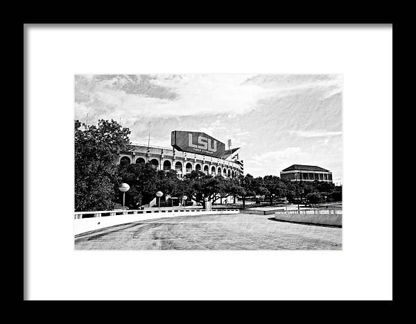 Lsu Framed Print featuring the photograph Home Field Advantage - Bw Texture by Scott Pellegrin