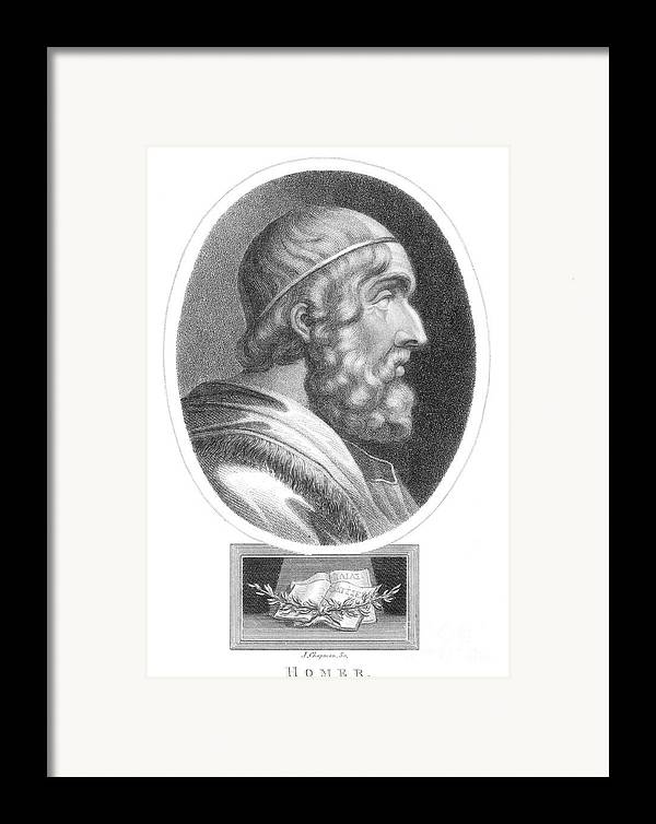 Literature Framed Print featuring the photograph Homer, Ancient Greek Epic Poet by Photo Researchers