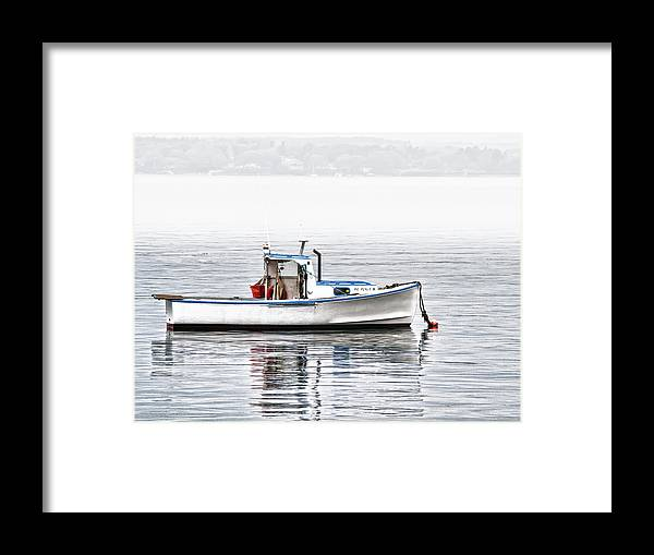 � Richard Bean Framed Print featuring the photograph Idle Mooring Pillow by Richard Bean