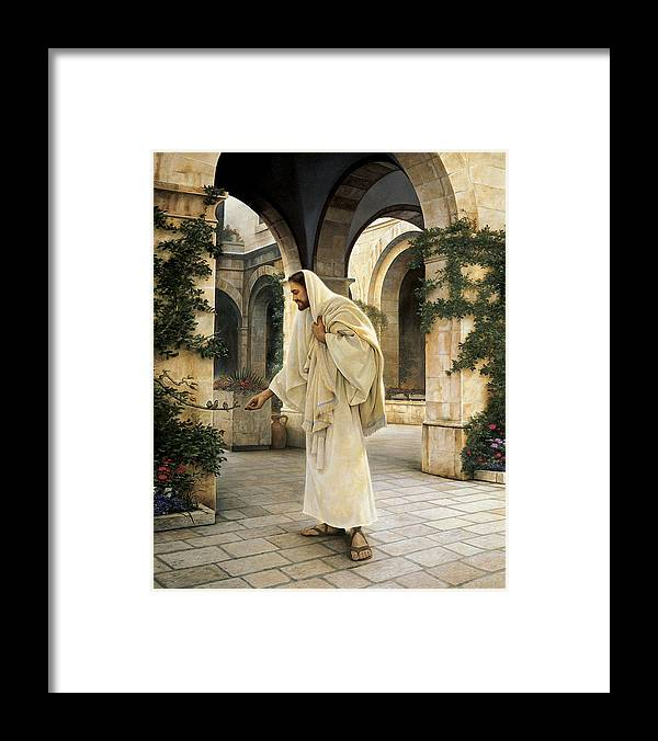 Jesus Framed Print featuring the painting In His Constant Care by Greg Olsen