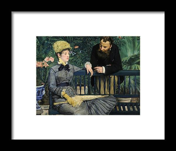1879 Framed Print featuring the painting In The Conservatory by Edouard Manet